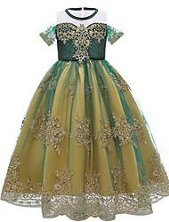 cheap -Frozen Princess Anna Dress Girls' Movie Cosplay Vacation Dress Halloween Christmas Green Dress Christmas Halloween