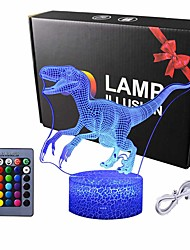 cheap -Dinosaur 3D Night Light Table Desk Lamp Elstey 7 Colors Optical Illusion Touch Control Lights with Acrylic Flat & ABS Base & USB Cable for Christmas Gift