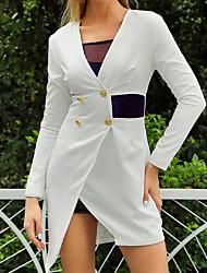 Недорогие -женский офисный бизнес асимметричный двубортный пиджак с длинным рукавом с длинным рукавом платье mm0069