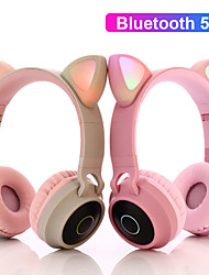 cheap -AA43 Over-Ear LED Headphones Cat Ear Bluetooth 5.0 Stereo ual Drivers Headset Support TF Card 3.5mm Plug With Mic