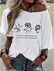 cheap -Women's Floral T-shirt Daily White / Yellow / Blushing Pink / Fuchsia / Khaki / Light Blue