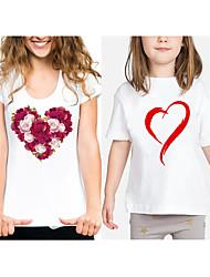 abordables -Maman et moi Actif Basique Fleur Graphique Imprimé Manches Courtes Normal Tee-shirts Blanche