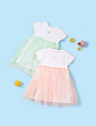 Недорогие -Дети Девочки Контрастных цветов Платье Розовый