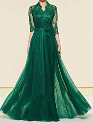 cheap -A-Line Mother of the Bride Dress Elegant High Neck Floor Length Chiffon Lace Half Sleeve with Lace Pleats Appliques 2020 / Illusion Sleeve