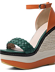 cheap -Women's Sandals Wedge Sandals Summer Wedge Heel Peep Toe Daily Synthetics Red / Green