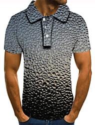 Недорогие -Муж. Графика 3D-печати С принтом Polo Повседневные Серый / С короткими рукавами
