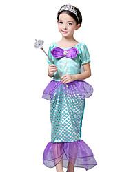 cheap -The Little Mermaid Princess Dress Flower Girl Dress Girls' Movie Cosplay Vacation Dress Purple Dress Children's Day Masquerade Satin / Tulle
