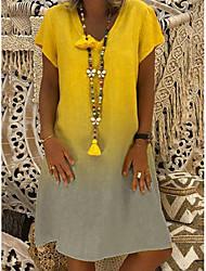 cheap -Women's Shift Dress Knee Length Dress Red Yellow Navy Blue Light Blue Short Sleeve Color Gradient Summer V Neck Hot Casual 2021 S M L XL XXL 3XL