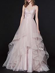 cheap -Ball Gown Elegant Pink Engagement Formal Evening Dress Spaghetti Strap Sleeveless Sweep / Brush Train Tulle with Pleats Tier 2020