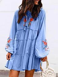 abordables -Femme Robe Trapèze Mini robe Courte Manches Longues Eté - Chic de Rue Fleur 2020 Rouge Vert Bleu clair S M L XL XXL XXXL XXXXL