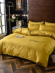 cheap -Simple european-style washed silk cotton bedding embroidery 4-piece set of single and double plain color