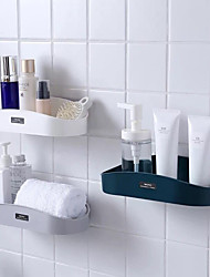 cheap -Bathroom Shelf Self-adhesive Contemporary  Plastics Material Wall Mounted Hollow Design 1pc
