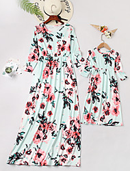 cheap -Mommy and Me Boho Sweet Blue & White Floral Print 3/4 Length Sleeve Maxi Dress Blushing Pink