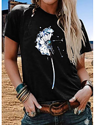abordables -Femme Fleur Tee-shirt Quotidien Blanche / Noir / Bleu Marine / Gris