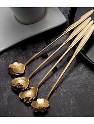 cheap -Flower Petal Spoon Long Handle Stainless Steel Stirring Spoon Ice Cream Dessert Spoon Tea Drinking Tools Kitchen Gadge