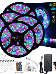 cheap -20M(4x5M) LED Light Strips RGB Tiktok Lights Waterproof Intelligent Dimming App Control Flexible 2835 SMD IR 24 Key Controller with Installation Package 12V 4A Adapter Kit