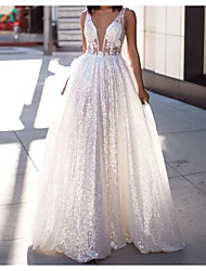 cheap -A-Line Wedding Dresses Scoop Neck Sweep / Brush Train Lace Tulle Sleeveless Beach Sexy See-Through with Embroidery 2020