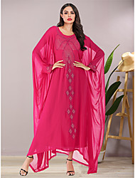 cheap -Women's Chiffon Dress - 3/4 Length Sleeve Solid Color Summer Fall Elegant Vintage Party Daily Batwing Sleeve 2020 Fuchsia One-Size