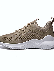 cheap -Men's Summer Sporty Athletic Trainers / Athletic Shoes Running Shoes PU / Elastic Fabric Non-slipping White / Black / Beige