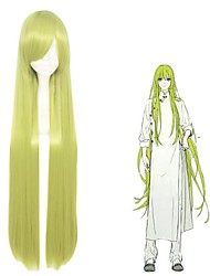 cheap -TouHou Project Cirno Cosplay Wigs Women's Side bangs 28 inch Heat Resistant Fiber Straight Green Teen Adults' Anime Wig
