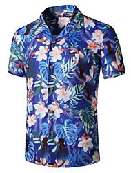 cheap -Men's Floral Print Shirt Tropical Daily Button Down Collar Blue / Short Sleeve