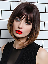 cheap -Synthetic Wig Bangs Straight Natural Straight Side Part Neat Bang With Bangs Wig Short Ombre Brown Synthetic Hair 12 inch Women's Cosplay Women Synthetic Brown HAIR CUBE