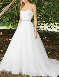 cheap -A-Line Wedding Dresses Sweetheart Neckline Court Train Lace Sleeveless Sexy Wedding Dress in Color with Appliques 2020