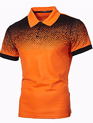cheap -Men's Plus Size Color Block Print Polo Business Basic Daily Work White / Black / Red / Orange / Light gray / Dark Gray / Navy Blue / Short Sleeve