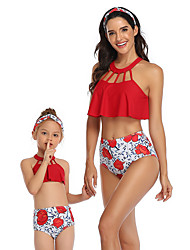 cheap -2 Piece Mommy and Me Active Sweet Floral Geometric Color Block Backless Cut Out Print Sleeveless Short Above Knee Swimwear Red