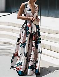 cheap -Sheath / Column Floral Maxi Holiday Prom Dress V Neck Sleeveless Floor Length Nylon with Pattern / Print 2020