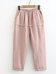 cheap -Women's Basic Loose Chinos Pants - Solid Colored Blushing Pink Orange Navy Blue XL / XXL / XXXL