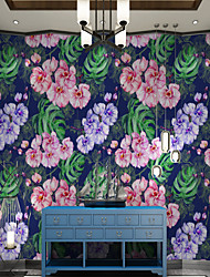 cheap -Custom self-adhesive Wallpaper Mural purple flowers suitable for bedroom living room coffee shop restaurant hotel   Canvas Material Adhesive required  Wall Cloth Room Wallcovering