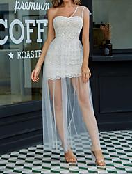 Недорогие -женское белое одно плечо повседневное платье макси сетка мм0514