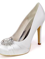 cheap -Women's Wedding Shoes Spring / Summer Stiletto Heel Round Toe Minimalism Wedding Party & Evening Rhinestone Solid Colored Satin White / Black / Purple