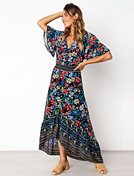 cheap -Women's Sheath Dress Maxi long Dress - Short Sleeves Floral Summer Elegant 2020 White Black Blue S M L XL