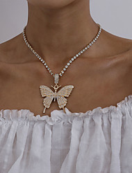 cheap -Women's Necklace Butterfly Classic Fashion Chrome Black Blushing Pink Gold Silver 41 cm Necklace Jewelry 1pc For Party Evening Formal Street Beach Festival
