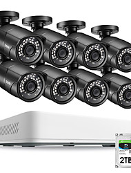 Недорогие -Система видеонаблюдения zosi 8ch hd 5.0mp h.265 с 8 x 5mp 2560 * 1920 для наружного / внутреннего видеонаблюдения, камера видеонаблюдения, жесткий диск 2 ТБ