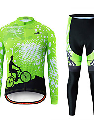 cheap -Miloto Men's Long Sleeve Cycling Jersey with Tights Black / Green Bike Breathable Sports Patterned Mountain Bike MTB Road Bike Cycling Clothing Apparel / Stretchy