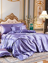cheap -4-Piece Imitated Silk Fabric Duvet Cover Set,Luxury Satin Bedding Sets Include 1 Duvet Cover, 1 Flat Sheet, 2 Shams