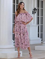 cheap -Women's Swing Dress Midi Dress - Short Sleeve Floral Layered Print Summer Off Shoulder Elegant Mumu 2020 Blushing Pink S M L XL XXL