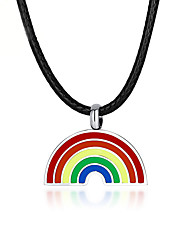 cheap -Pendant Necklace Rainbow Steel Stainless For LGBT Pride Cosplay Men's Women's Costume Jewelry Fashion Jewelry