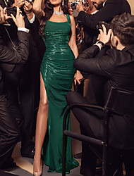 cheap -Sheath / Column Elegant Green Party Wear Formal Evening Dress Scoop Neck Sleeveless Floor Length Sequined with Ruched Sequin Split 2020