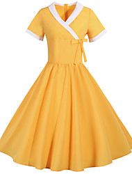 cheap -Audrey Hepburn Vintage Inspired Dress Women's Spandex Costume Black / Yellow / Orange Vintage Cosplay Short Sleeve