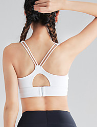 cheap -Women's Sports Bra Medium Support Strappy Wireless Solid Color White Black Green Nylon Yoga Running Fitness Bra Top Sport Activewear Breathable High Impact Quick Dry Comfortable Freedom Stretchy