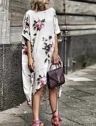 cheap -Women's A Line Dress - Half Sleeve Floral Summer Casual 2020 White S M L XL XXL XXXL