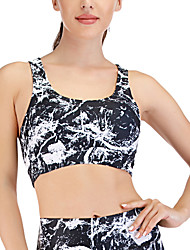 cheap -Women's Sports Bra Medium Support Removable Pad Wirefree Print Black Yoga Running Fitness Bra Top Sport Activewear Breathable Comfort Quick Dry Freedom Stretchy