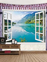 Недорогие -вид на озеро за окном цифровой печатный гобелен декор стена искусство скатерти покрывало одеяло для пикника пляжные гобелены красочная спальня зал общежитие гостиная подвесной