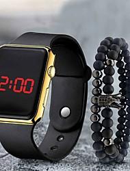 Недорогие -Муж. электронные часы Цифровой Современный Стильные силиконовый Черный ЖК экран Повседневные часы Cool Цифровой На каждый день - Коричневый+Золотой Черный Синий Один год Срок службы батареи