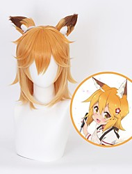 cheap -Cosplay Wig Senko The Helpful Fox Senko San Straight Layered Haircut With Bangs Wig Medium Length Orange Synthetic Hair 14 inch Women's Anime Cosplay Exquisite Mixed Color