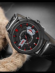 cheap -Men's Dress Watch Quartz Genuine Leather 30 m Water Resistant / Waterproof Calendar / date / day Day Date Analog Fashion Cool - Red+Brown Black Blue One Year Battery Life